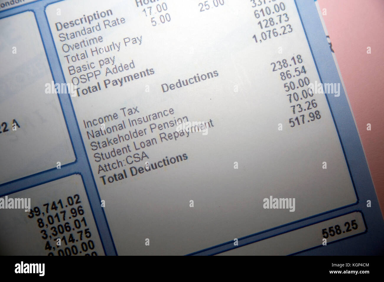 Student Loan Repayment and CSA payment shown on payslip, London - Stock Image
