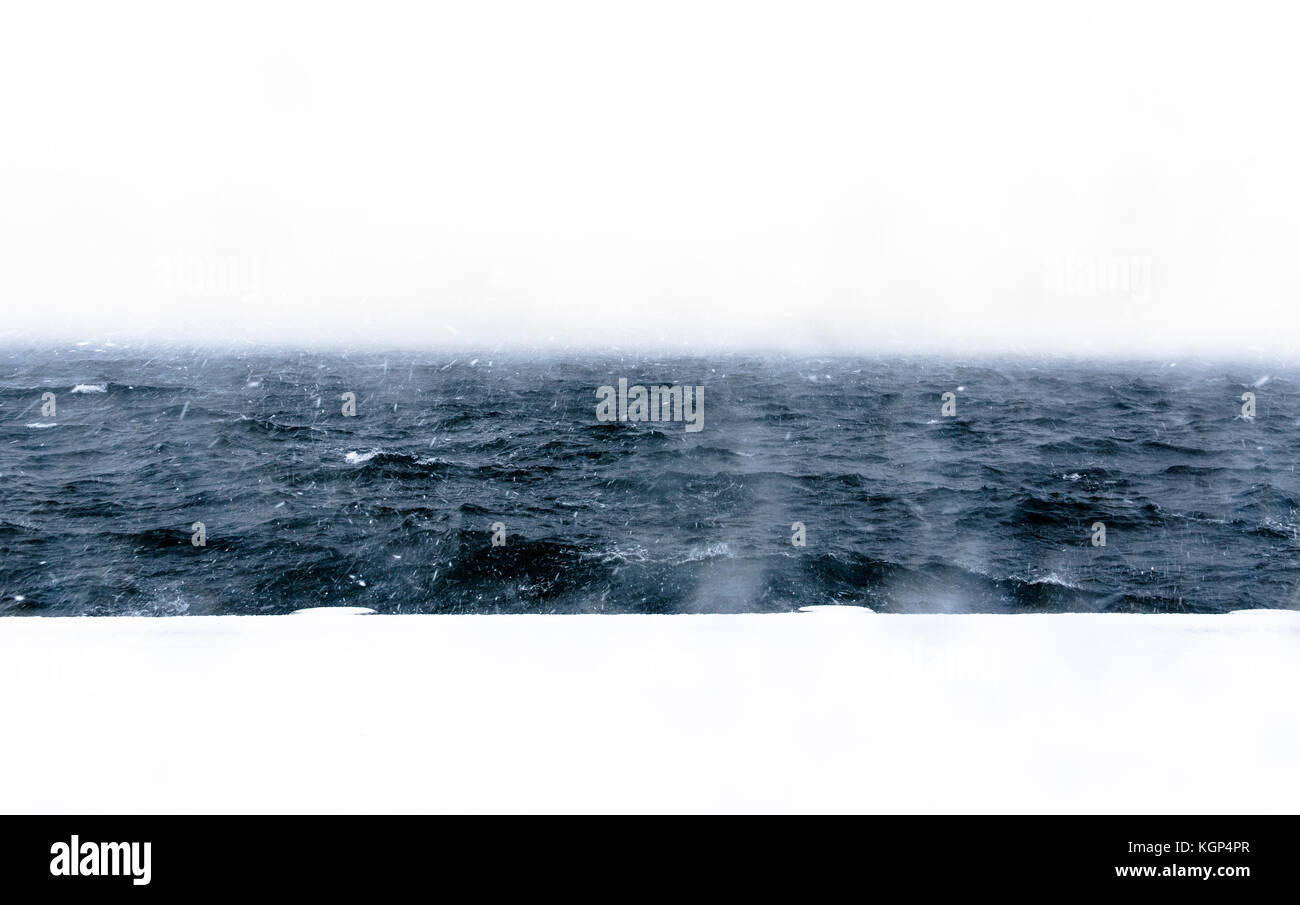 White Out Harbour - Stock Image