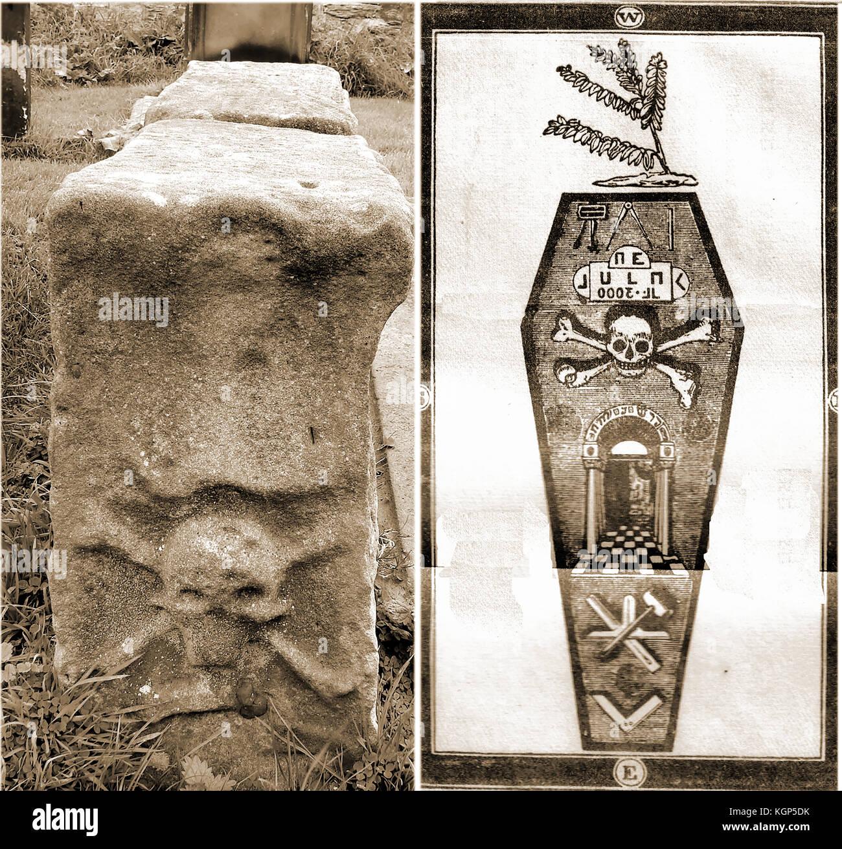 Freemasonry - Symbolism - Master Masons Grave Whitby Parish Church graveyard with symbolism from the Master Mason's - Stock Image