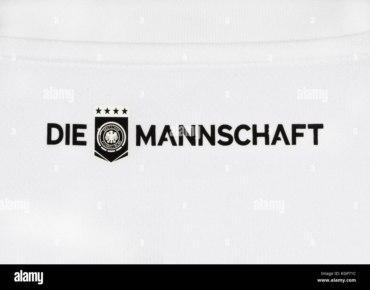 phrase 'die Mannschaft' (the team) on  German national team  shirt for  FIFA Football World Cup 2018 in - Stock Image