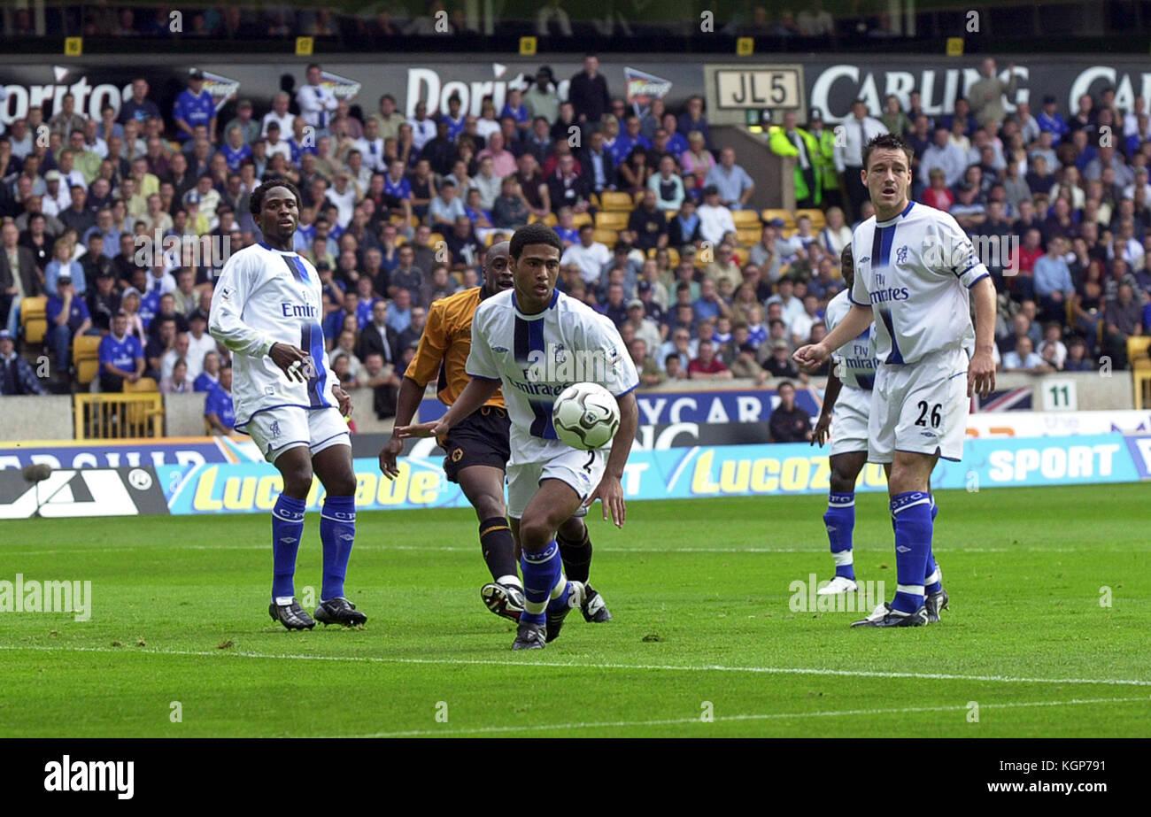 Footballer Celestine Babayaro, Glen Johnson, John Terry Wolverhampton Wanderers v Chelsea 20 September 2003 - Stock Image