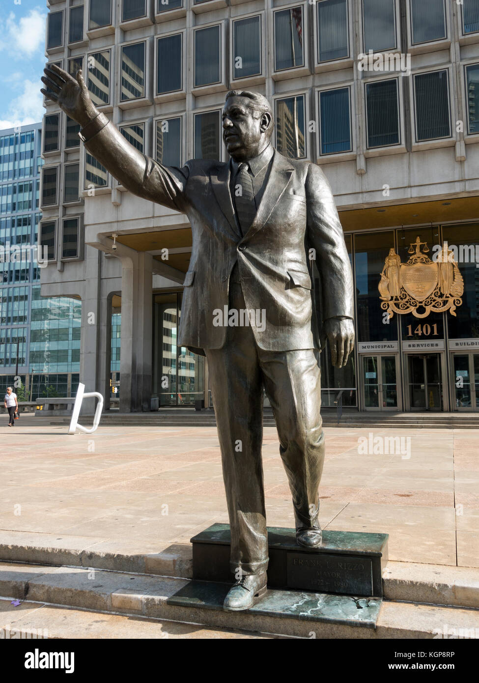 The controversial statue of former Mayor and Police Commissioner Frank Rizzo outside the Municipal Services Building, - Stock Image