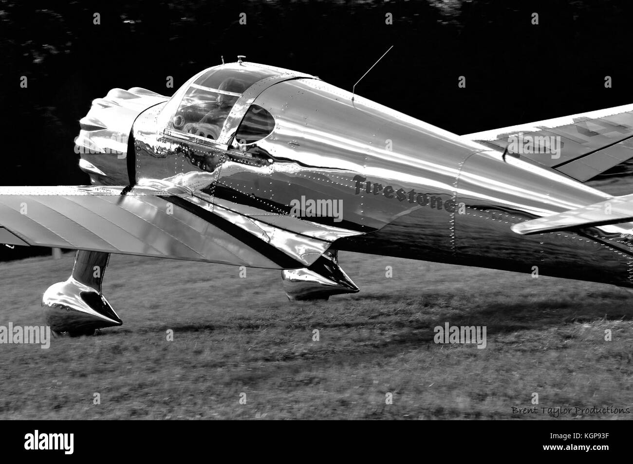There's something very appealing about polished metal surfaces, especially aircraft. In this case it's a rare - Stock Image