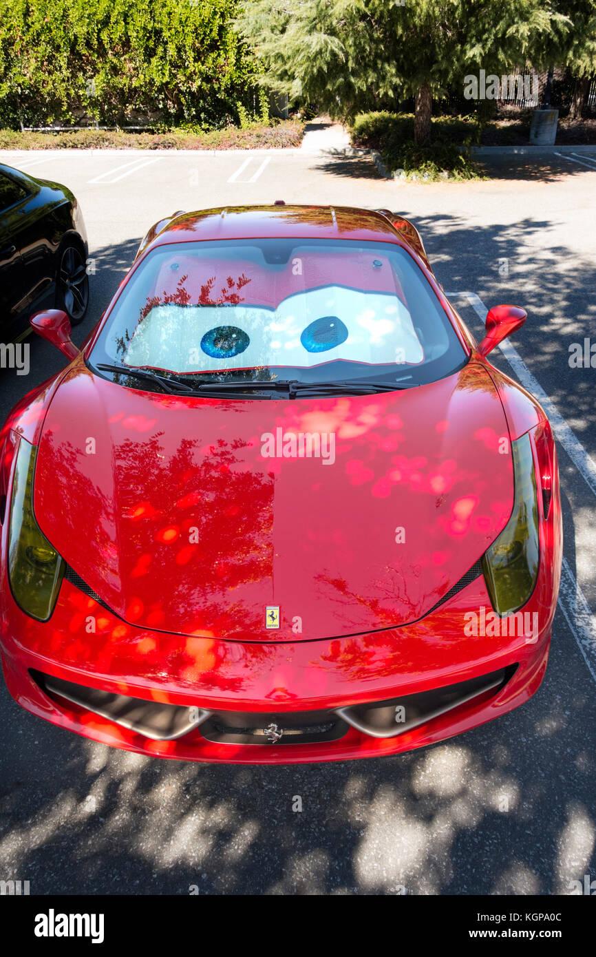 Windshield Sun Shade >> Red Ferrari 458 Italia with funny Lightning McQueen Eyes, Cars movie Stock Photo: 165218604 - Alamy