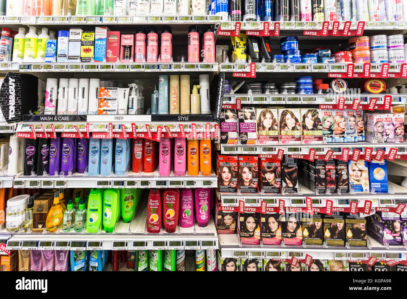 WELLINGTON, NEW ZEALAND - MARCH 1, 2017: Shampoo and other hair care products displayed in a supermarket in Wellingtion Stock Photo