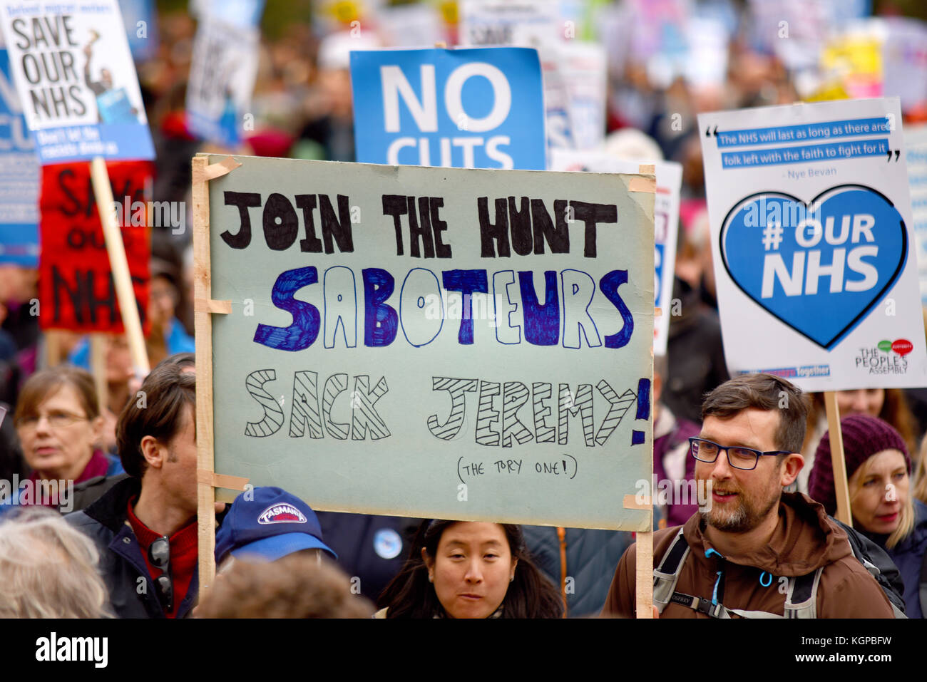 Join the Hunt saboteurs placard during Our NHS protest demonstration rally march against alleged UK Tory Conservative - Stock Image