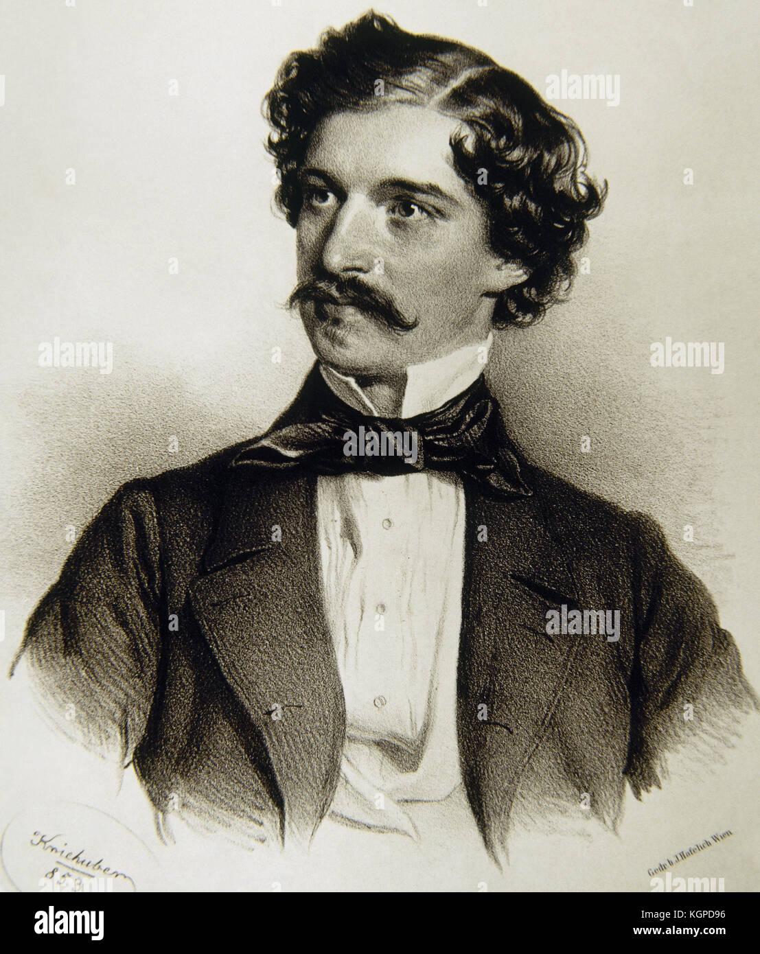 Johann Strauss II (1825-1899). Austrian composer of light music. Portrait. Engraving by Joseph Kriehuber (1800-1876), Stock Photo