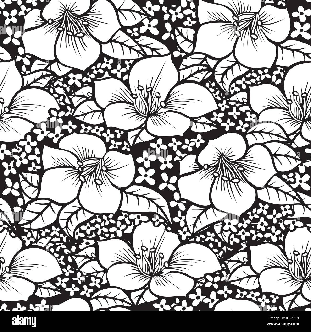 Black And White Monochrome Flower Digital Artwork Seamless Stock