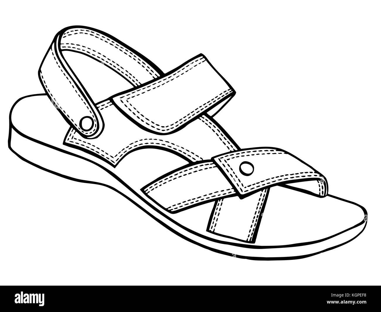 ff7f7e29c Sandal vector sketch icon isolated on background. Hand drawn Stock ...