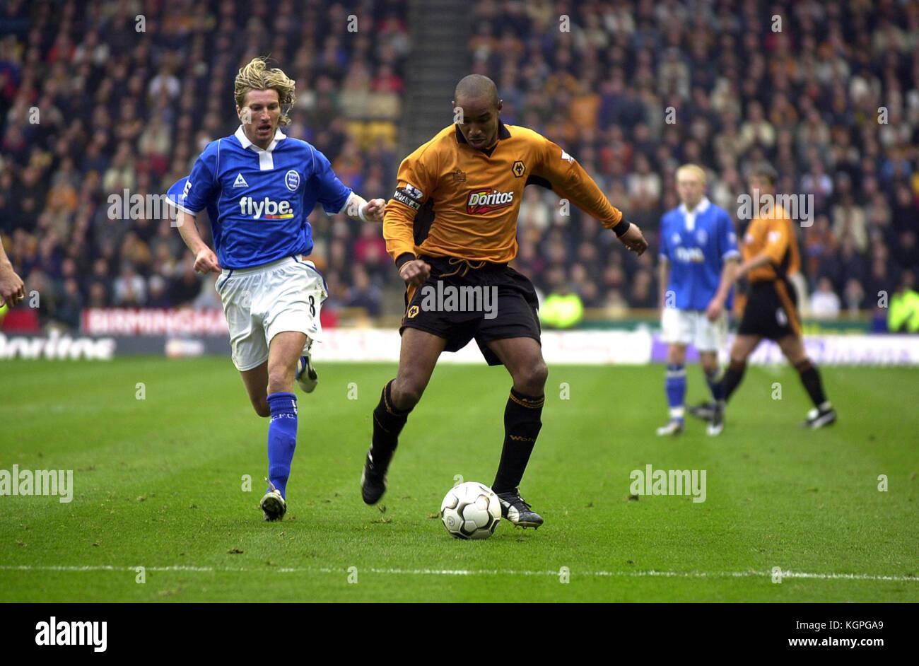 Footballer Paul Ince and Robbie Savage Wolverhampton Wanderers v Birmingham City 08 November 2003 - Stock Image
