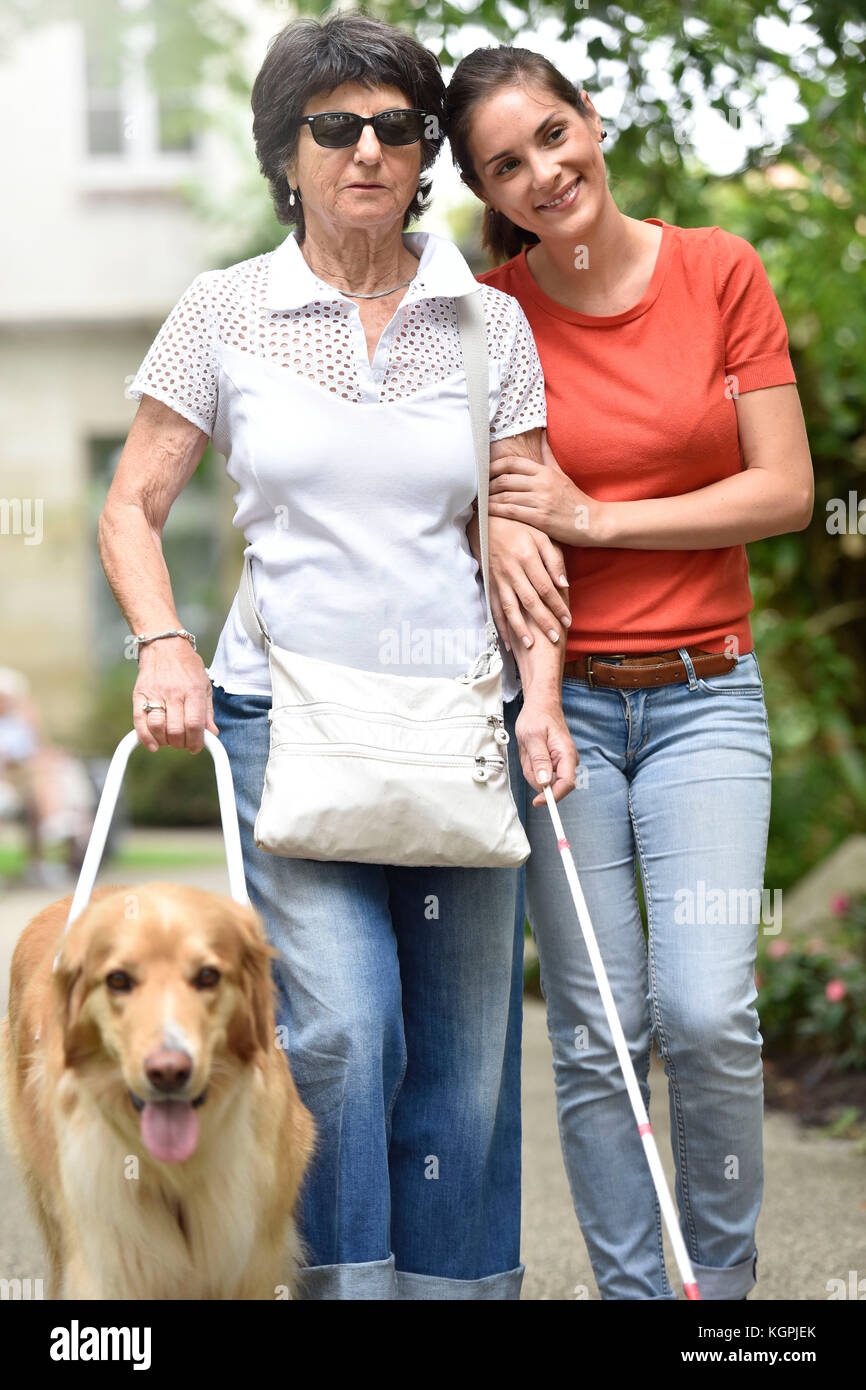 Senior blind woman walking with help of dog and carer - Stock Image