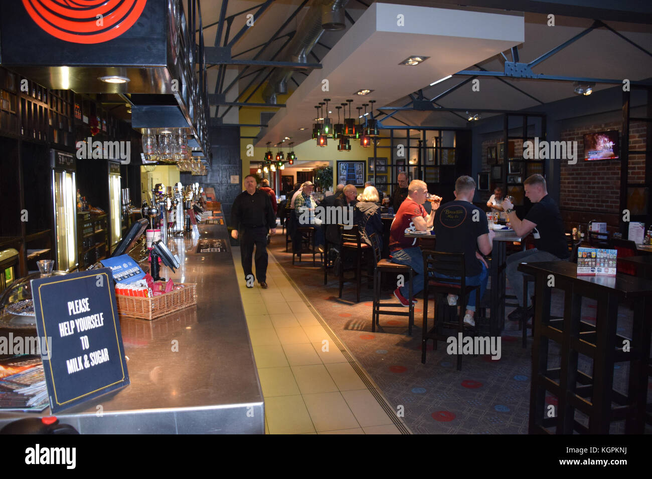 Interior of Wetherspoons pub, The Henry Bell, Helensborough, near Glasgow. John Logie Baird was born in Helensburgh - Stock Image