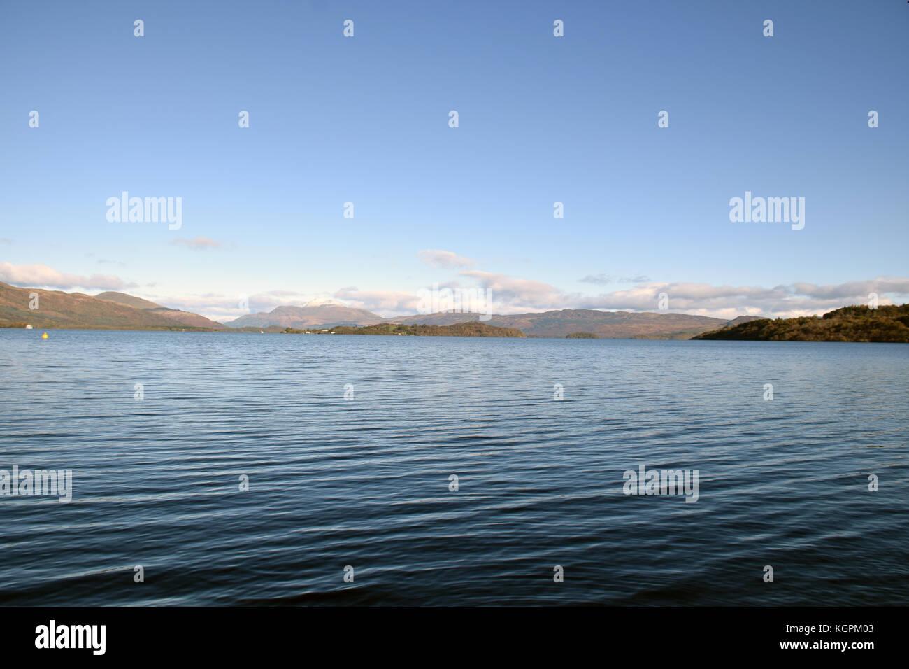 Loch Lomond - snow on Ben Lomond in the background, Scotland Stock Photo