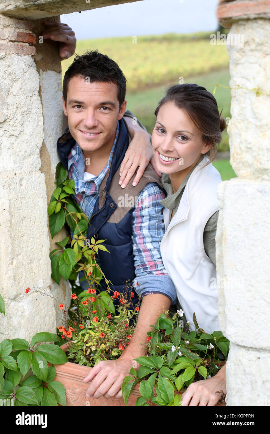 Young couple choosing rural lifestyle - Stock Image