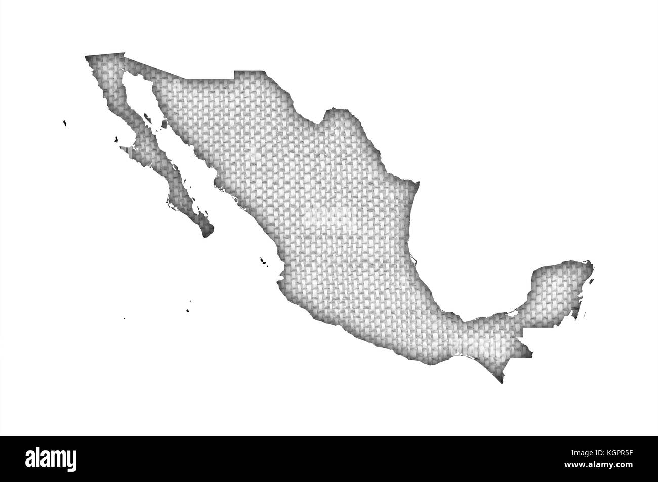 Map of Mexico on old linen - Stock Image
