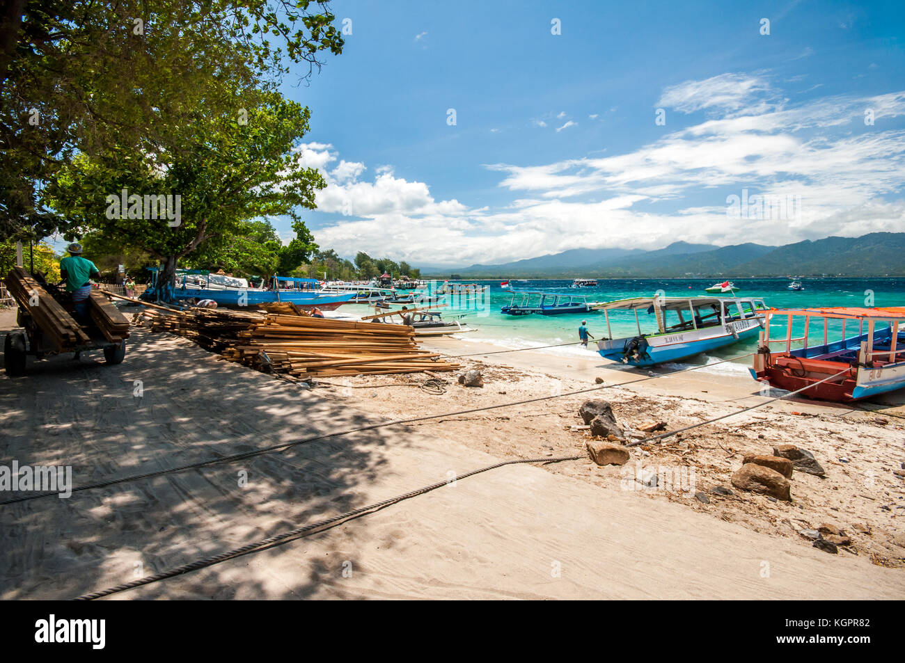 Gili Air harbour, traditional Indonesian boats moored up, Gili Islands, Indonesia, Southeast Asia, Asia - Stock Image