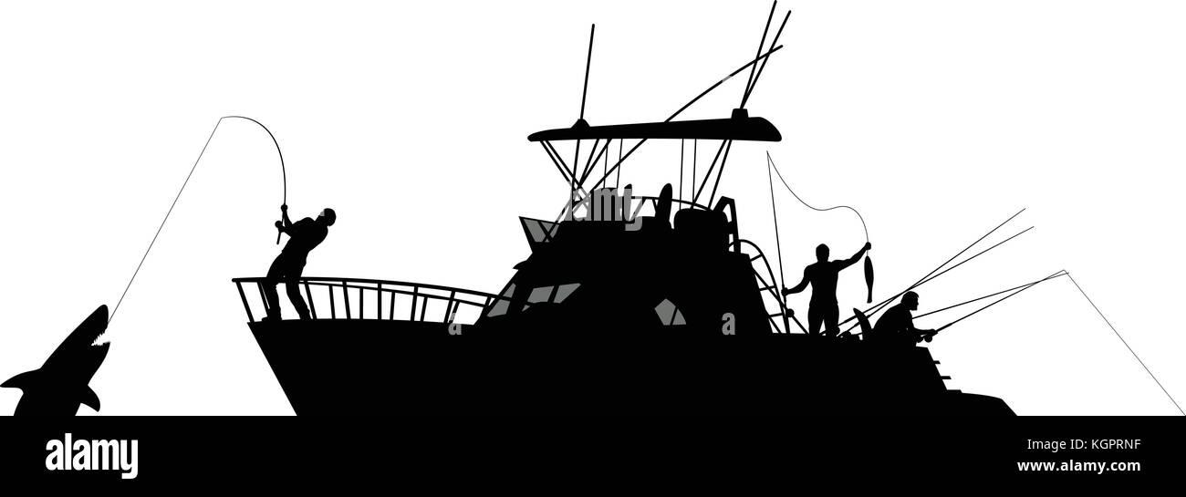 Boat Fishing Silhouette Stock Vector Image Art Alamy