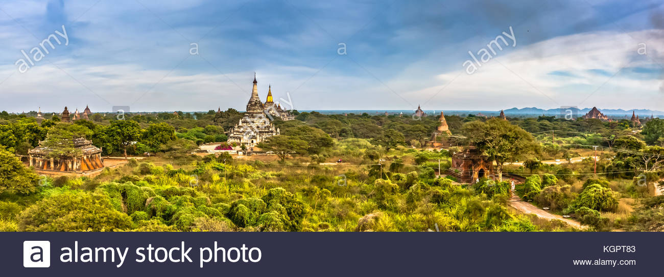 A panoramic view of Old Bagan, Myanmar - Stock Image