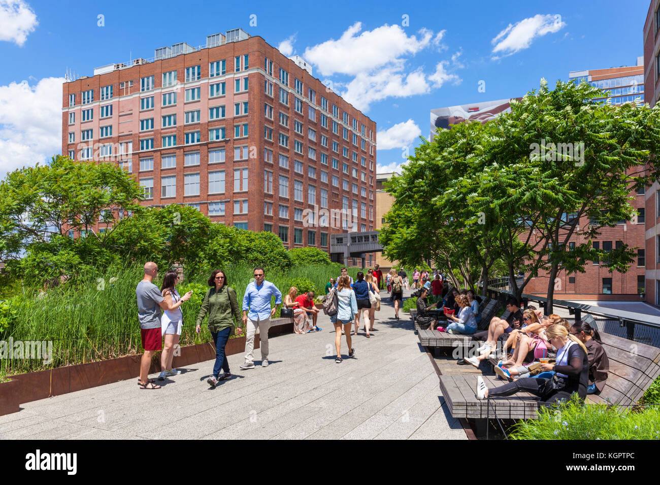 New york usa new york the high line new york urban park formed from an abandoned elevated rail line in Chelsea lower - Stock Image