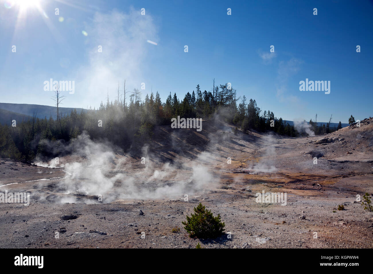 WY02586-00...WYOMING - Steam from numerous fumaroles in Monument Geyser Basin area of Yellowstone National Park. - Stock Image