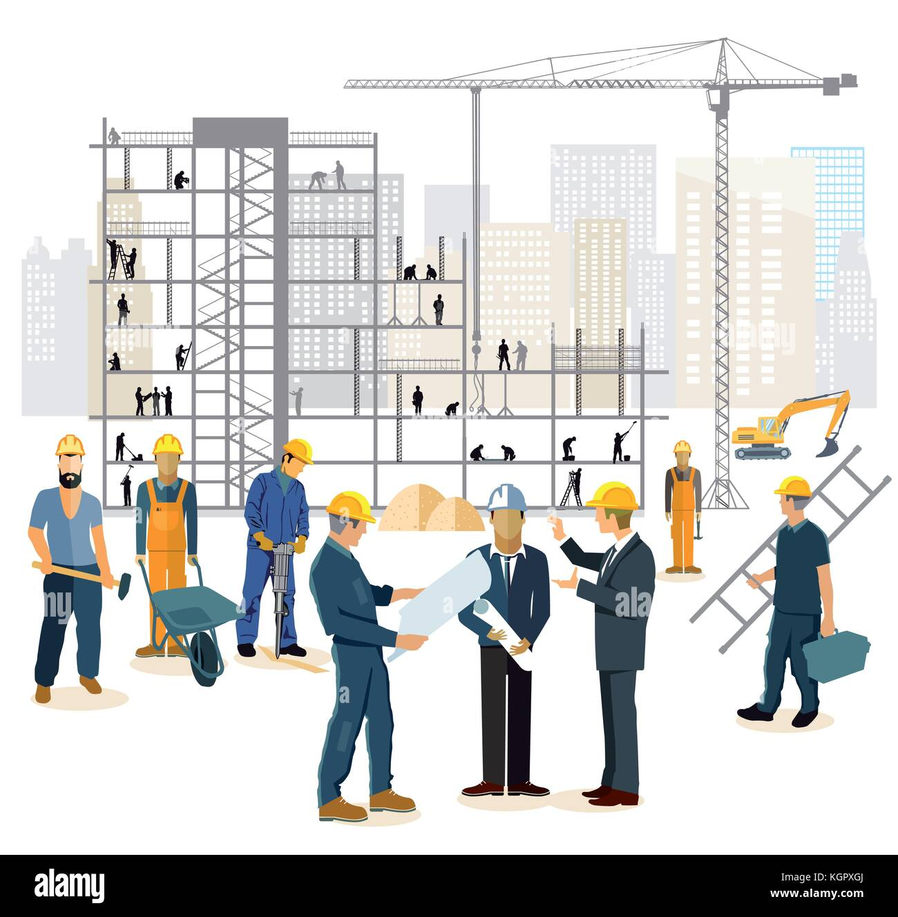 Architect and engineer on the construction site - Stock Vector