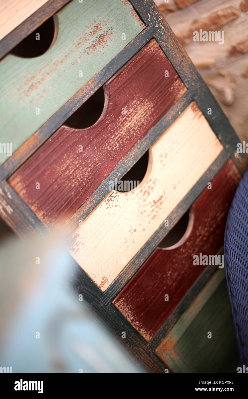 Wooden cabinet with drawers - Stock Image