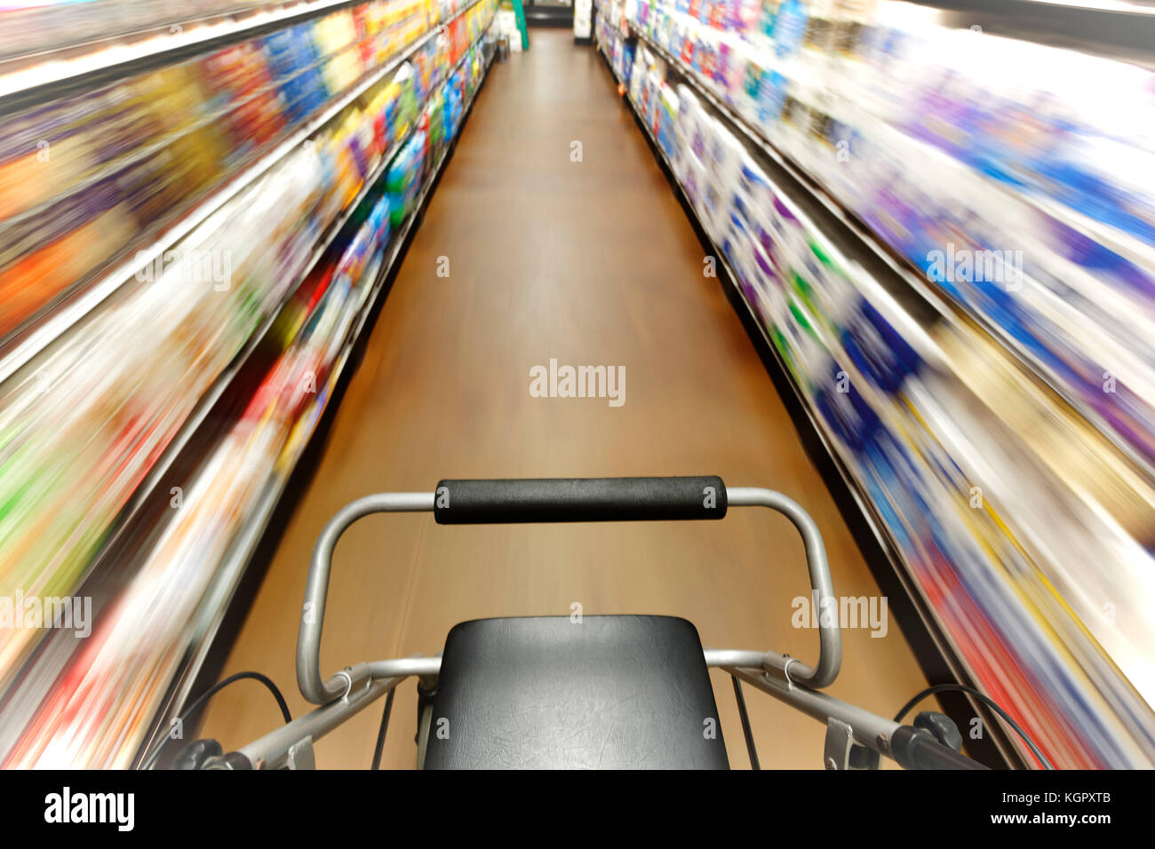 First person view of person with disability who is disoriented walking down a shopping aisle - Stock Image