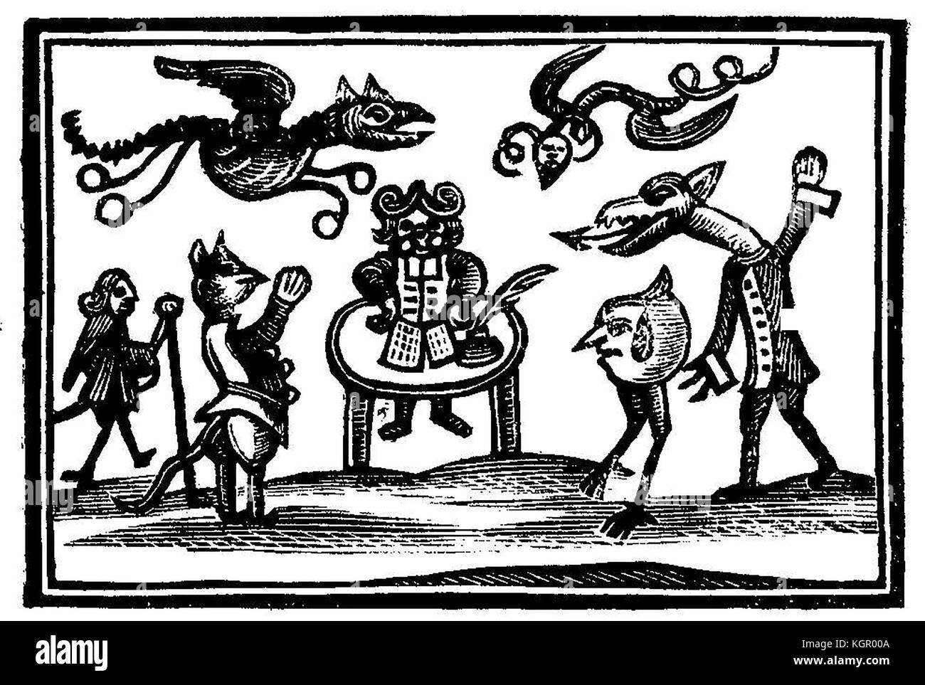 WITCHCRAFT - An old woodcut showing a witch's familiars, demons and goblins - Stock Image