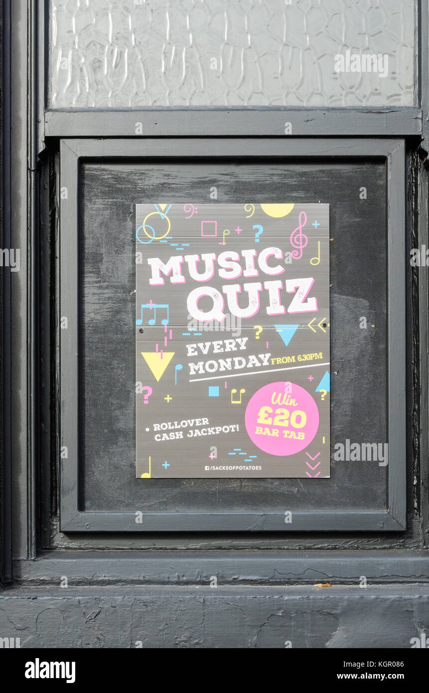 Poster advertising music quiz at the Sacks of Potatoes student pub on the Aston University Campus in Birmingham - Stock Image