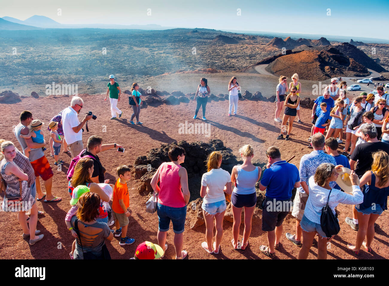 Demonstrations of volcanic activity on the Islet of Hilario. Timanfaya National Park. Lanzarote Island. Canary Islands - Stock Image