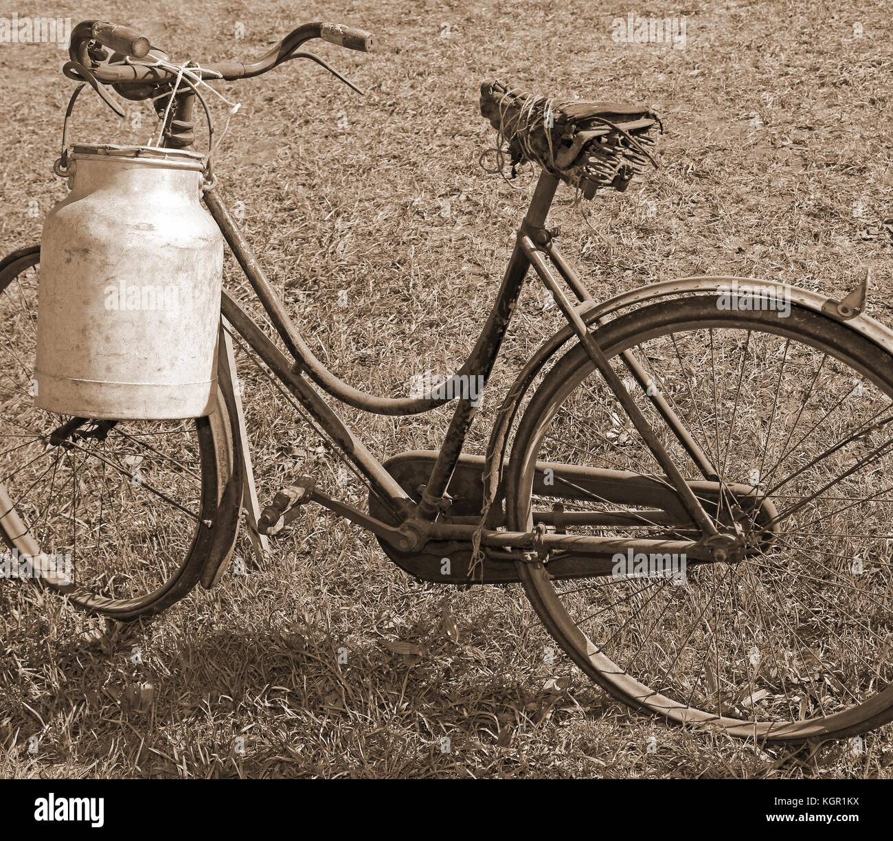 ancient milking bike with bin for milk transport and sepia effect - Stock Image