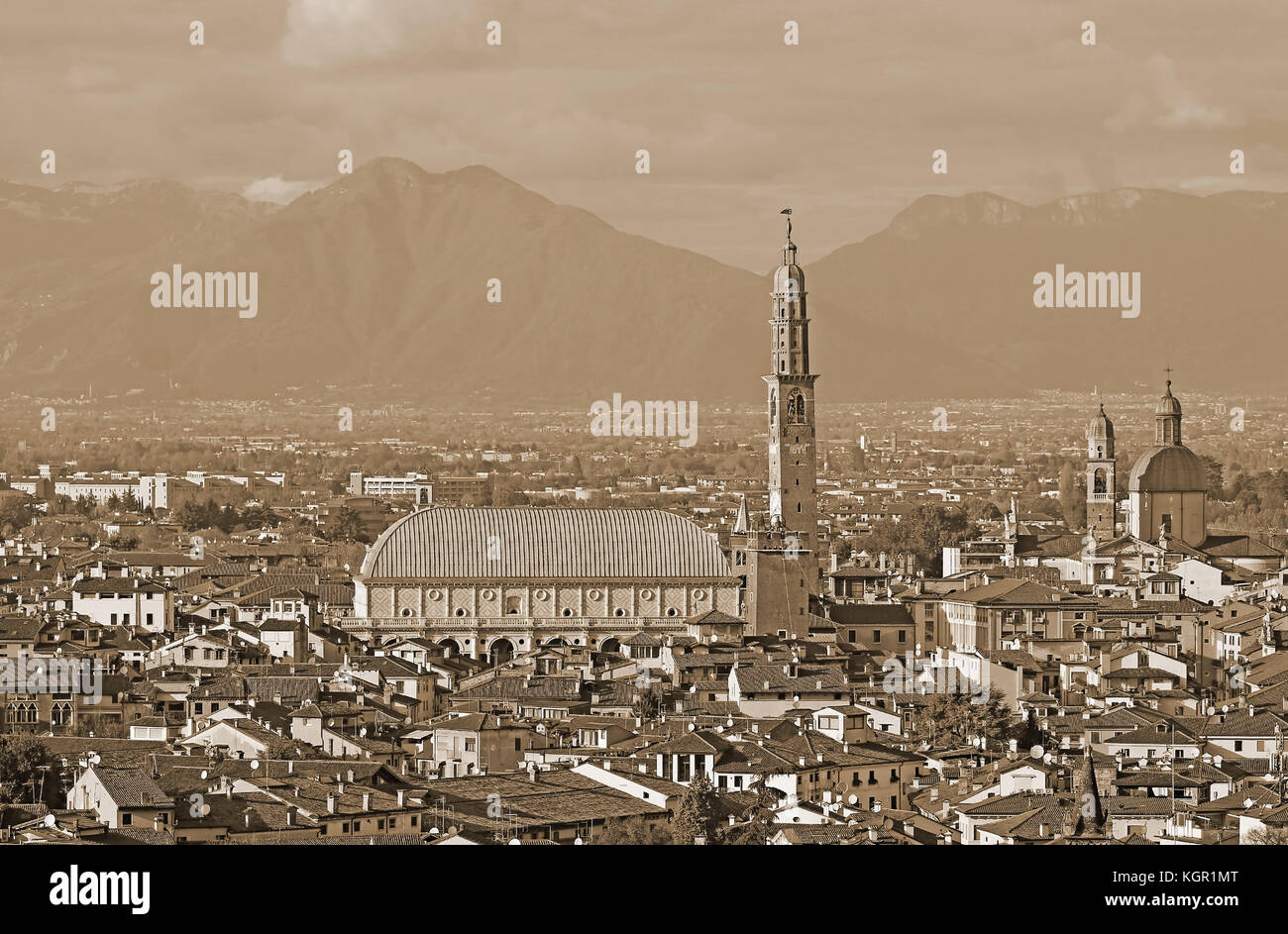 wide panoramic with of VICENZA city in Italy with Sepia Effect and the famous monument called Basilica Palladiana - Stock Image
