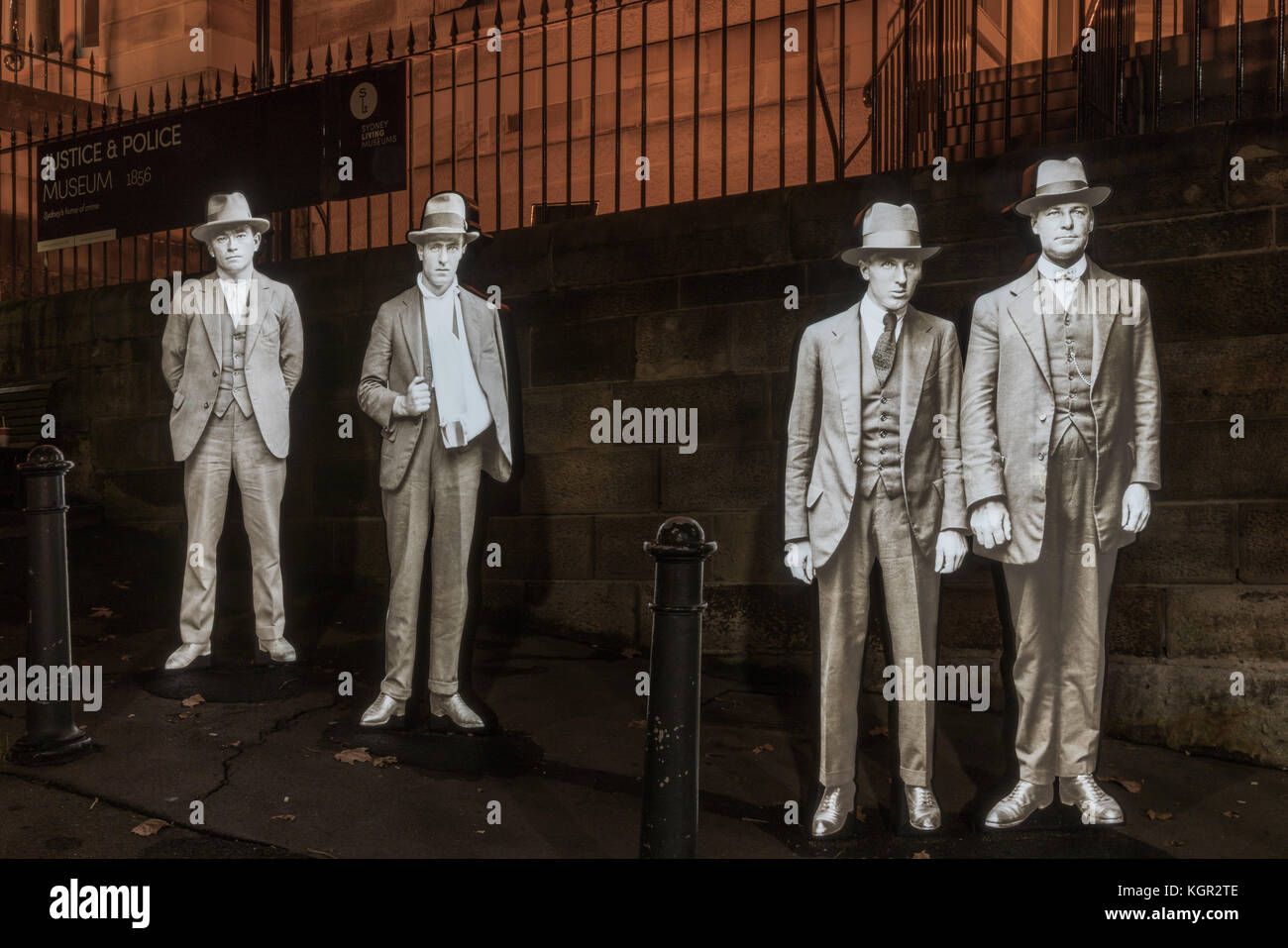 Sydney, Australia - March 24, 2017: Life size hologram of four detectives on corner of Albert and Phillip Streets Stock Photo
