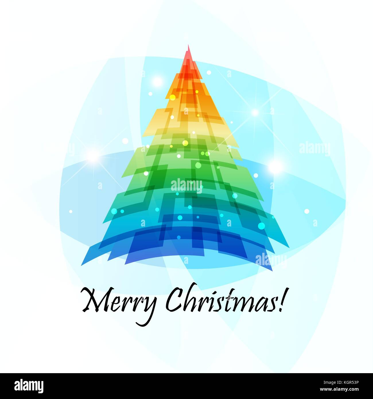 Merry Christmas, vector greeting card with multicolored spruce - Stock Vector