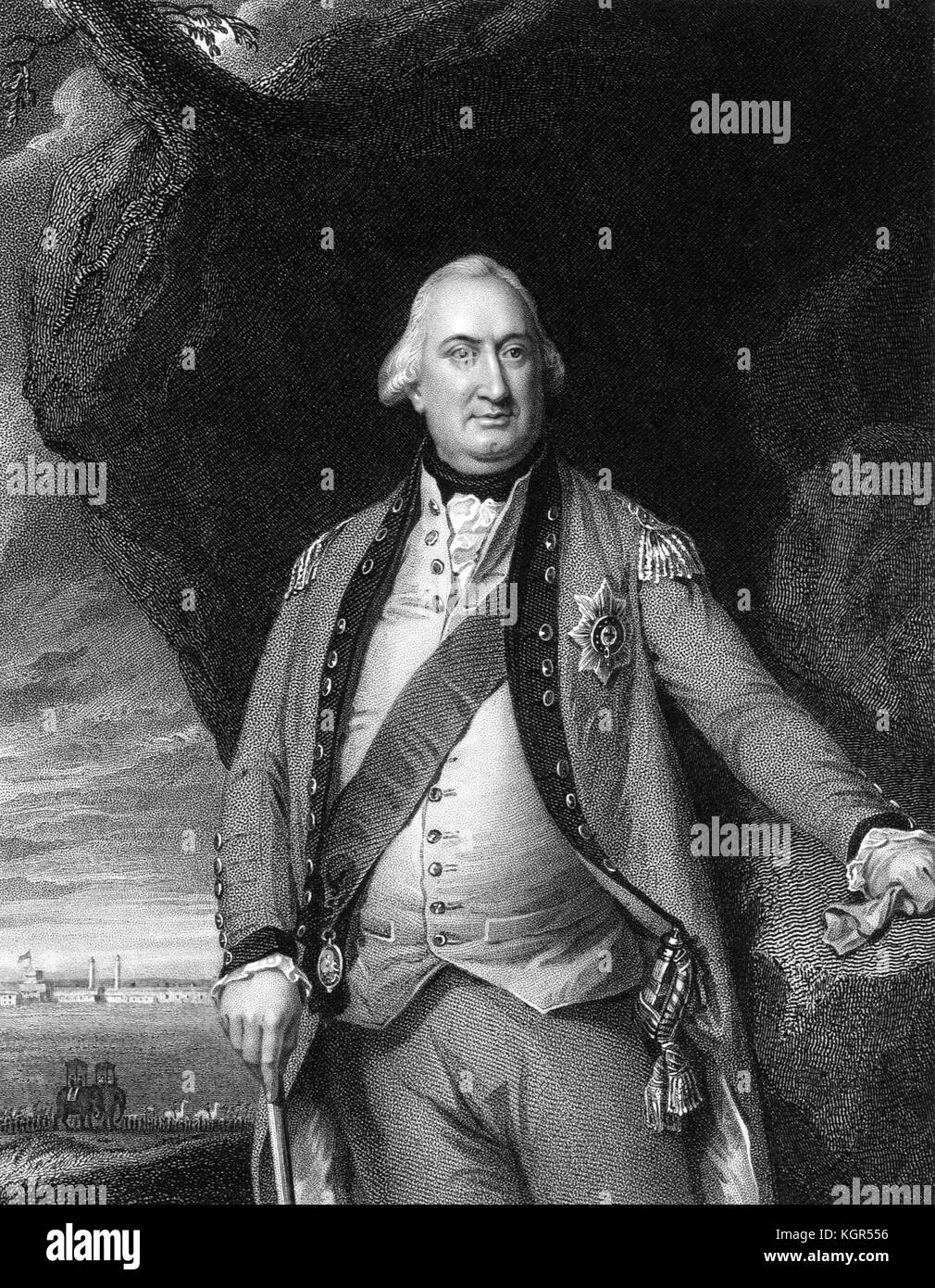 Charles Cornwallis, 1st Marquess Cornwallis (1738-1805),  engraving after a portrait by John Singleton Copley, c - Stock Image