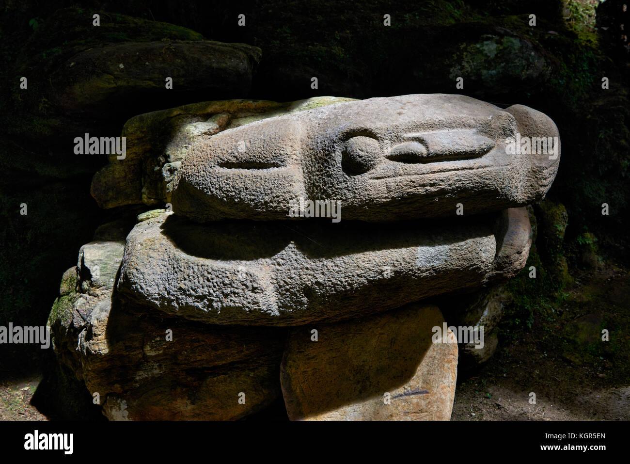 stone statue of a frog or toad at Alto de Lavapastas,  archaeological park Parque Arqueologico De San Agustin , - Stock Image