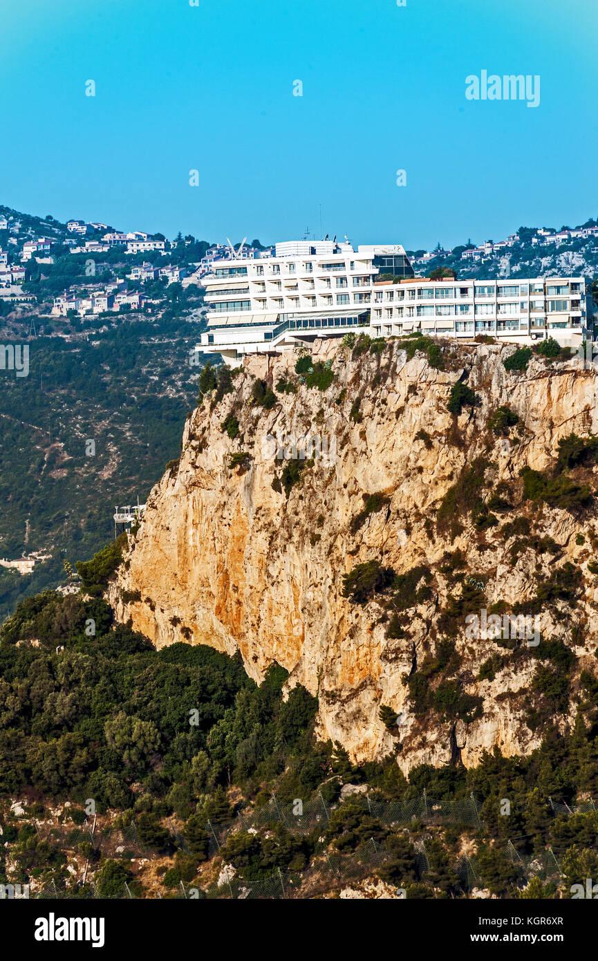 France, Alpes-Maritimes (06), Roquebrune-Cap-Martin. The luxurious perched hotel 'Bella Vista Palace' - Stock Image