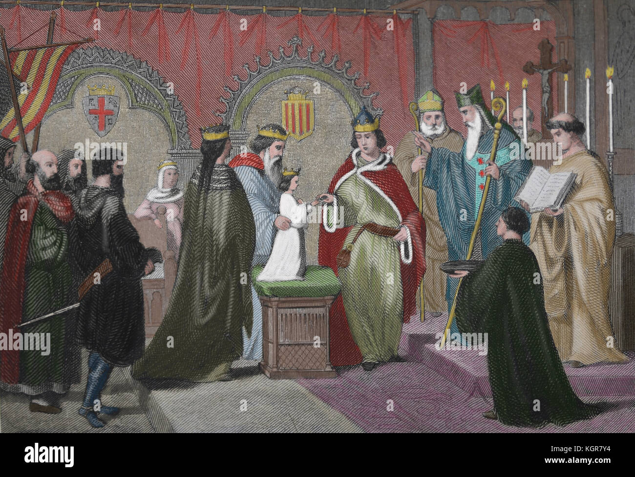 Marriage ceremony of Count of Barcelona Ramon Berenguer IV (1114-1162) with infant Petronilla of Aragon (1136-1173), Stock Photo