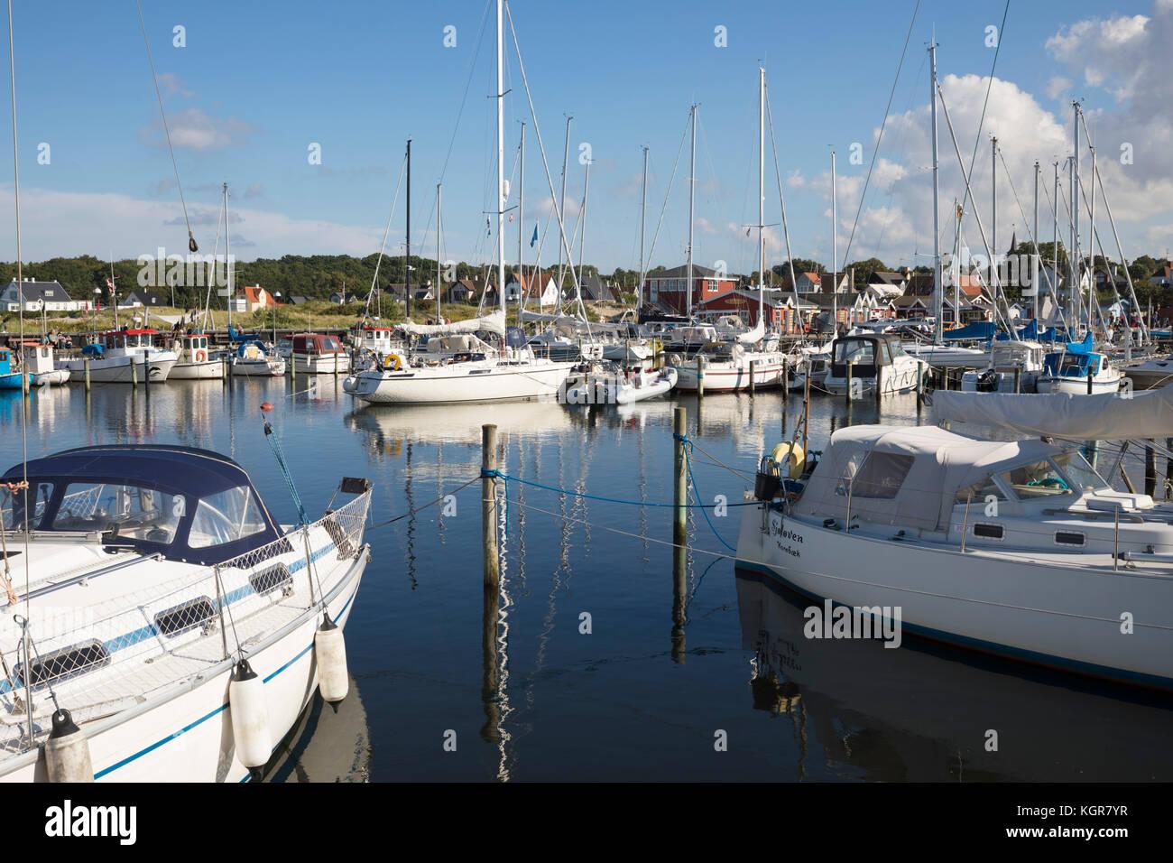 Boats in harbour of Hornbaek, Hornbaek, Kattegat Coast, Zealand, Denmark, Europe - Stock Image