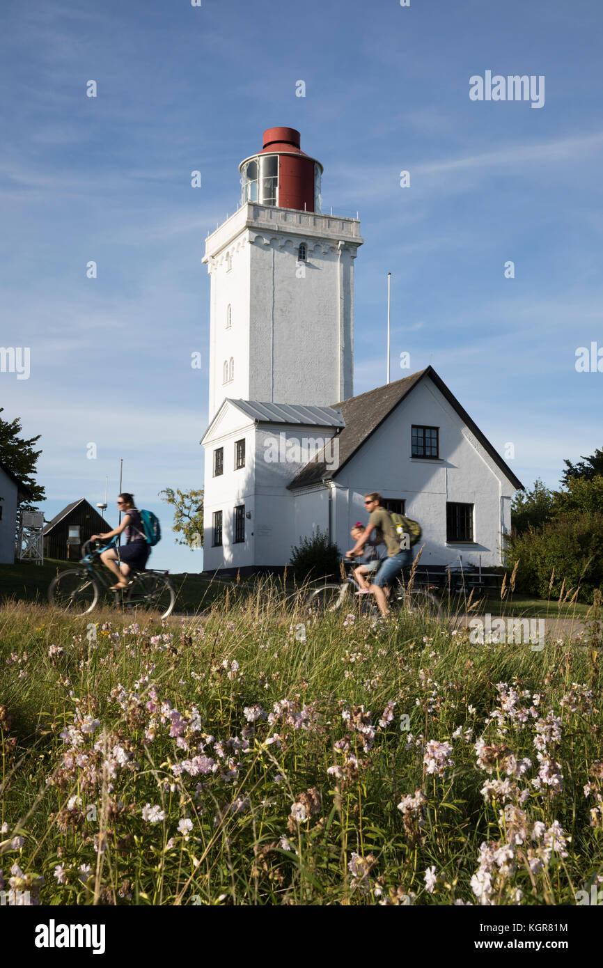Nakkehoved Fyr lighthouse, Gilleleje, Kattegat Coast, Zealand, Denmark, Europe - Stock Image