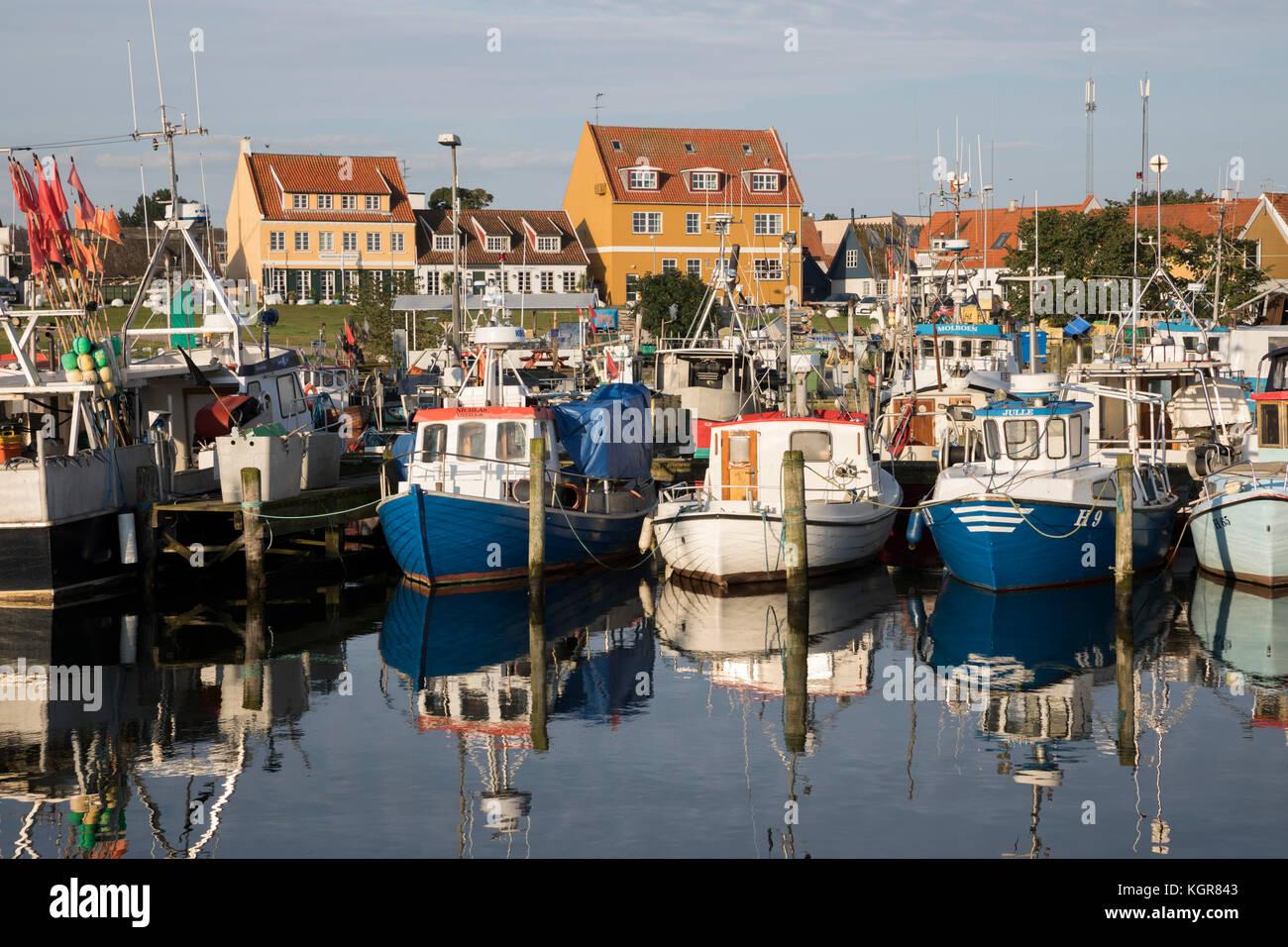 Fishing boats in harbour, Gilleleje, Kattegat Coast, Zealand, Denmark, Europe - Stock Image
