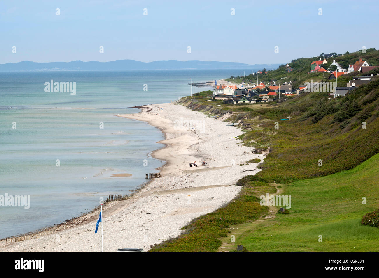 View over Rageleje Strand beach with Swedish coastline in distance, Rageleje, Kattegat Coast, Zealand, Denmark, - Stock Image