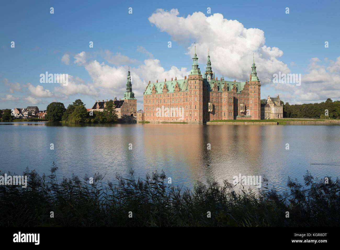 Frederiksborg Slot Castle built in the early 17th century for King Christian 4th on Castle Lake, Hillerod, Zealand, - Stock Image