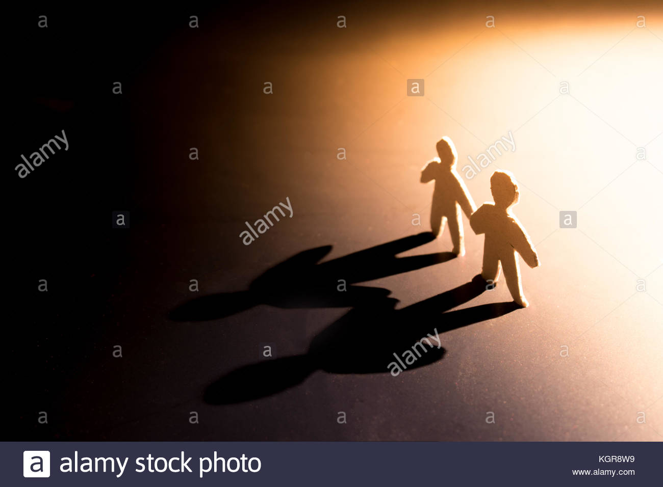 team going forward together for success in concept teamwork ,paper cutting - Stock Image