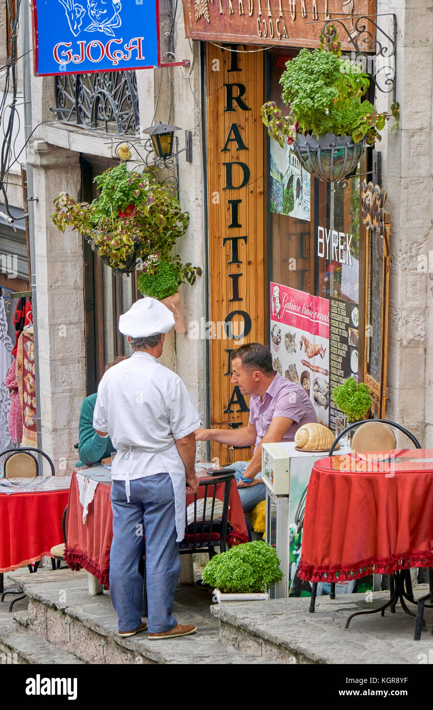 Gjirokaster, Albania - local tavern in the Old Town - Stock Image
