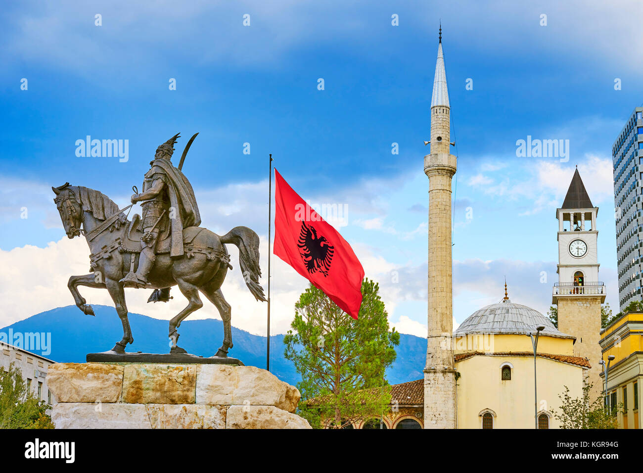 Albania, Tirana - statue of Skanderbeg, Ethem Bey Mosque, Skanderbeg Square - Stock Image