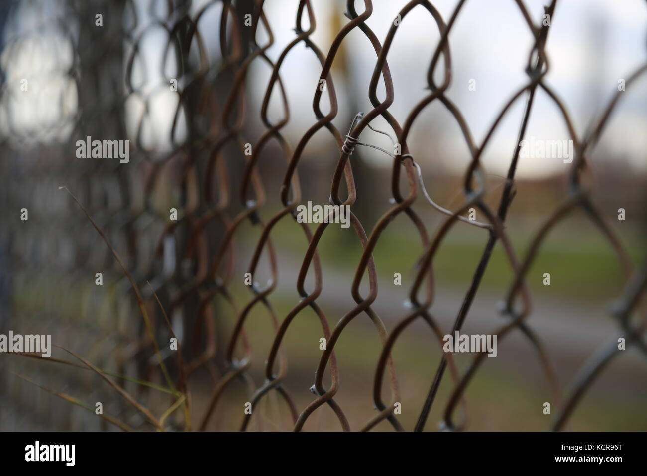 Metal wire Fence with the Lachine Canal in the Background - Stock Image