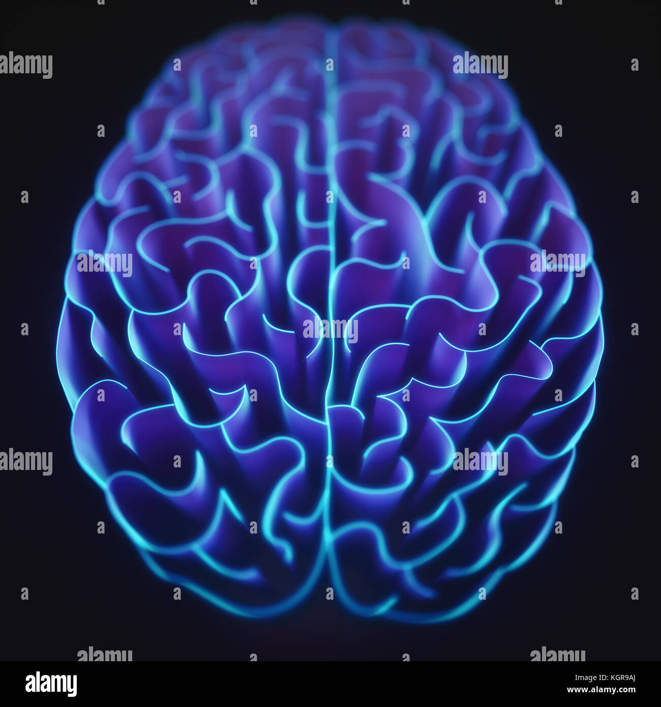 Walls shaped like a brain in a maze with no way out. - Stock Image