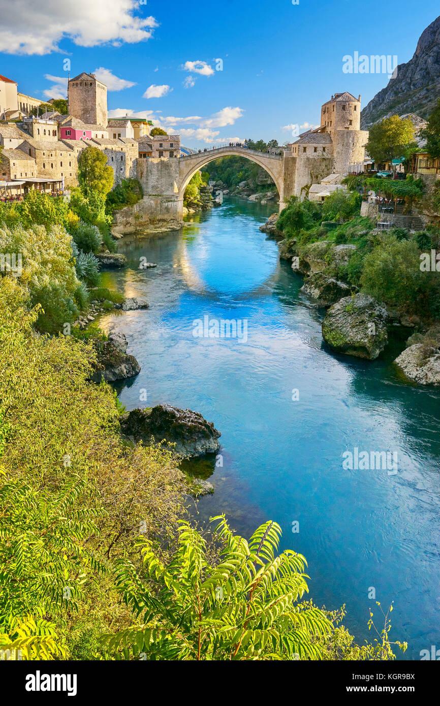 Stari Most or Old Bridge, Neretva River, Mostar, Bosnia and Herzegovina - Stock Image