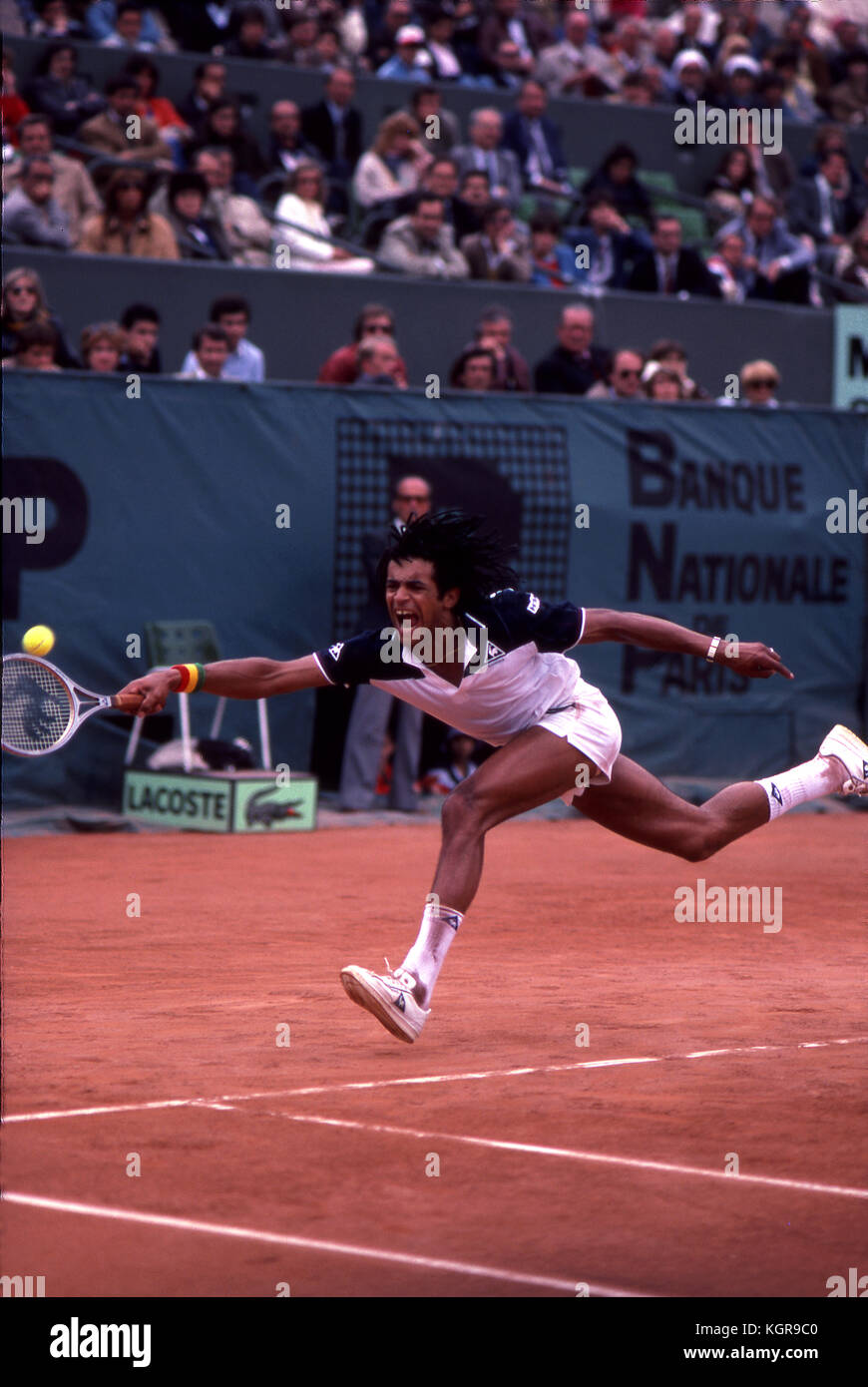 Yannick Noah at the 1983 French Open at Roland Garros. - Stock Image